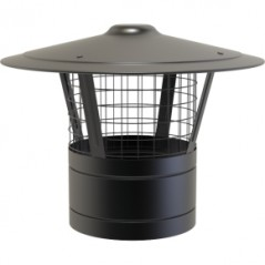 Rain Cap with Mesh dia 150mm - Black