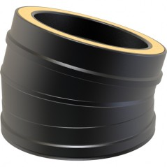 Twin Wall 15° Bend dia 125mm - Black