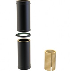 Twin Wall Adjustable Pipe 500-880mm dia 150mm - Black