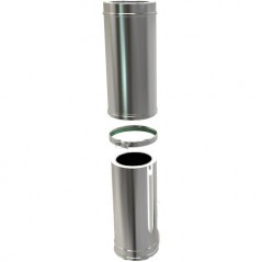 Twin Wall Adjustable Pipe 500-880mm dia 150mm - Silver